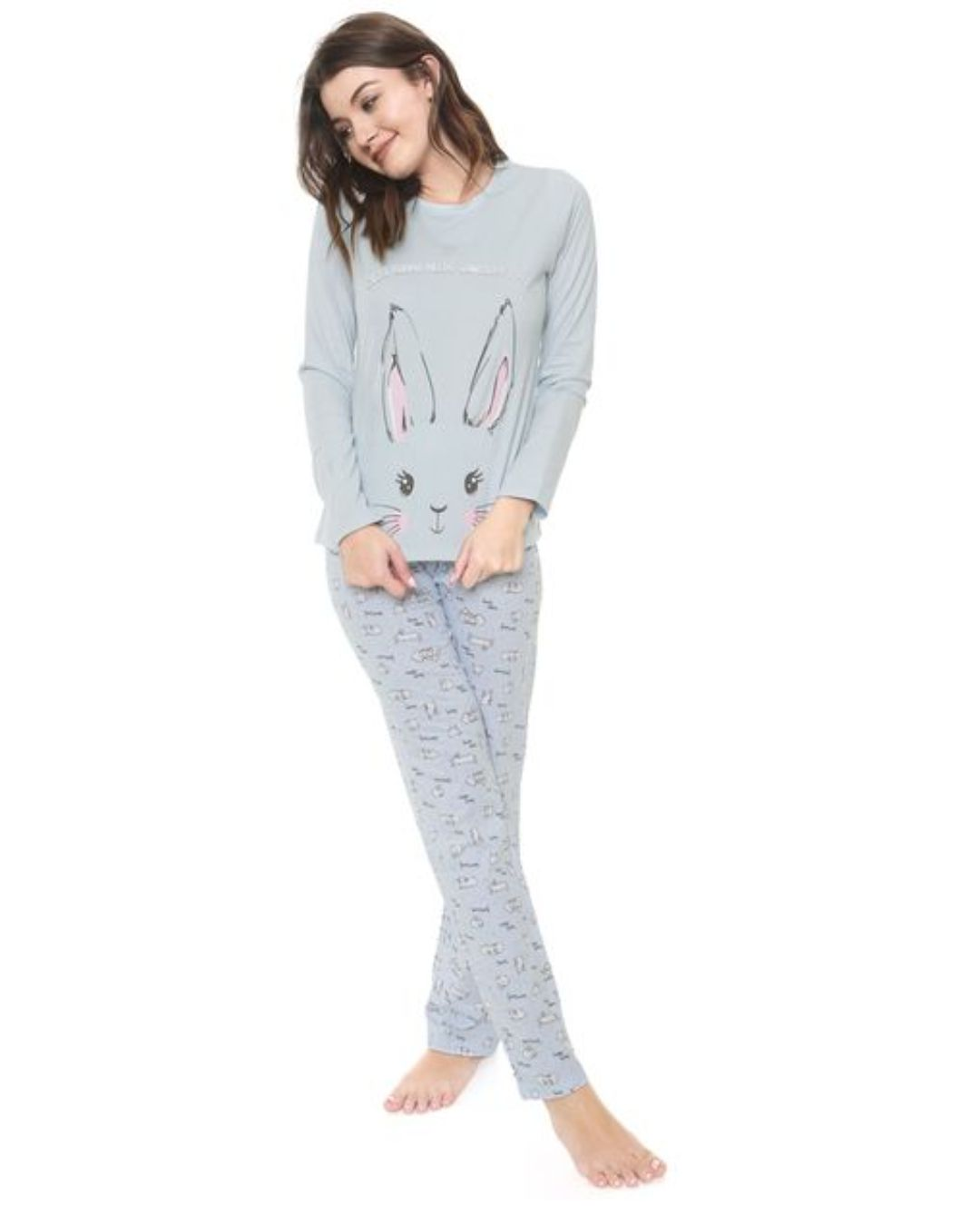 Pijama Manga Longa  Azul Cor com Amor 10935