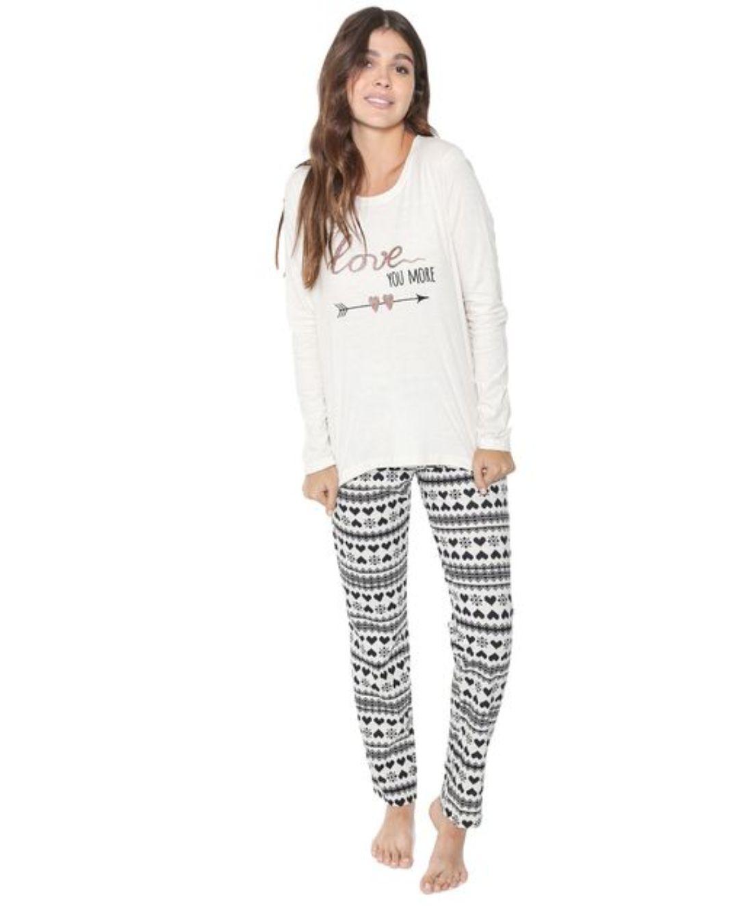 Pijama Manga Longa  cinza Cor com Amor 10931