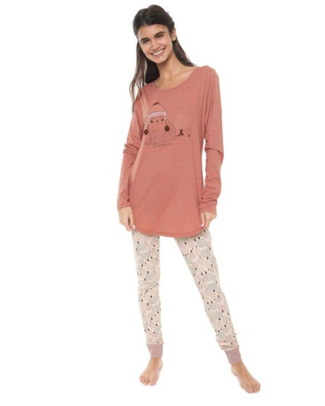 Pijama Manga Longa Rosa Candy Cor com Amor 10857