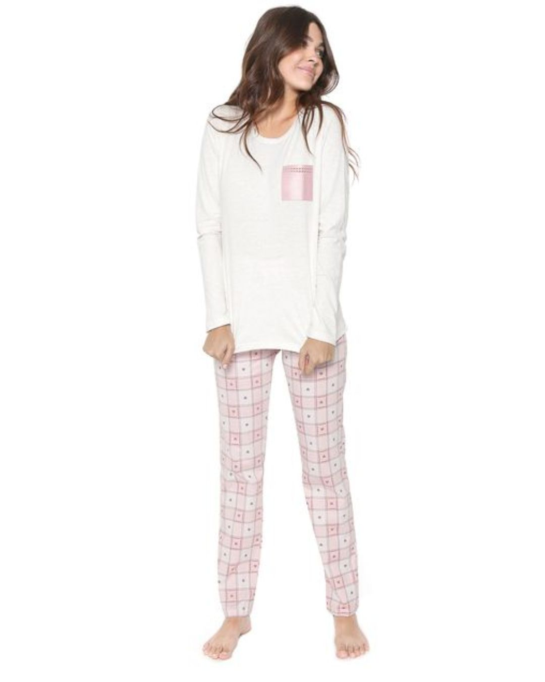 Pijama Manga Longa Rosa Candy Cor com Amor 10914