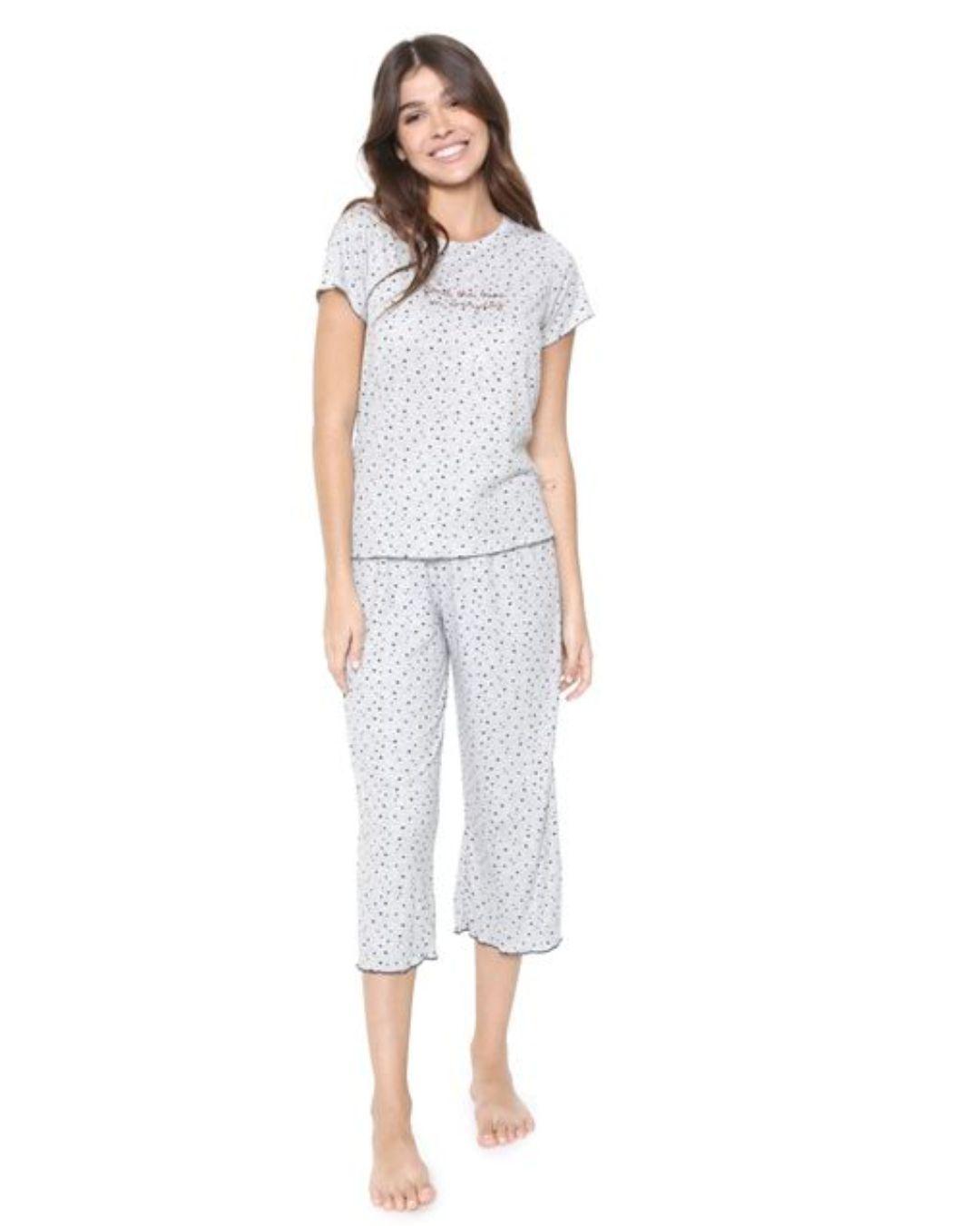 Pijama pantacourt Cor com Amor Estampado Cinza 10947