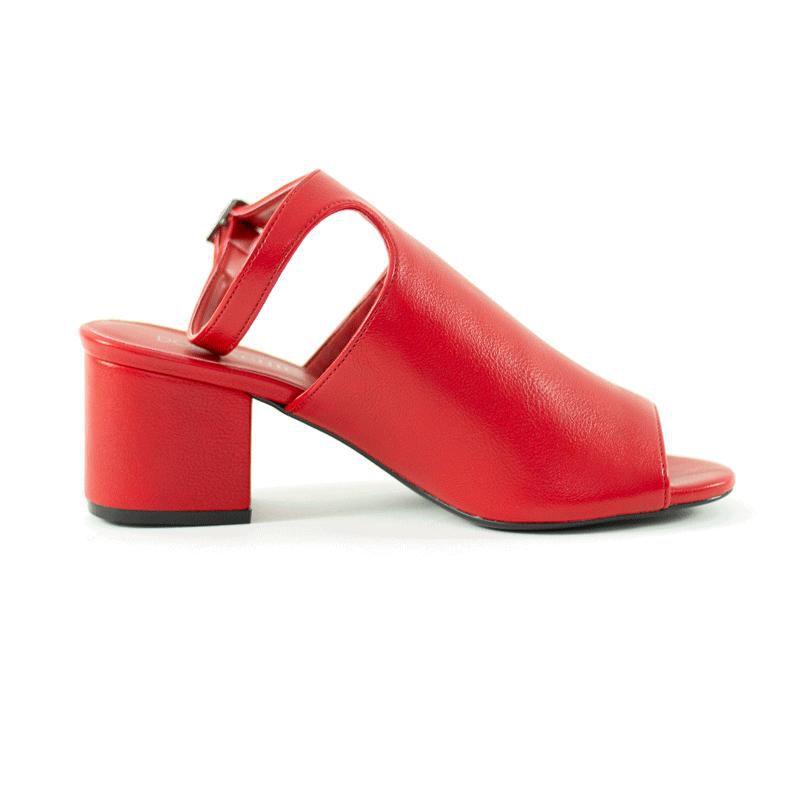 Sandália Ankle Lucy Salto bloco Napa Vermelho