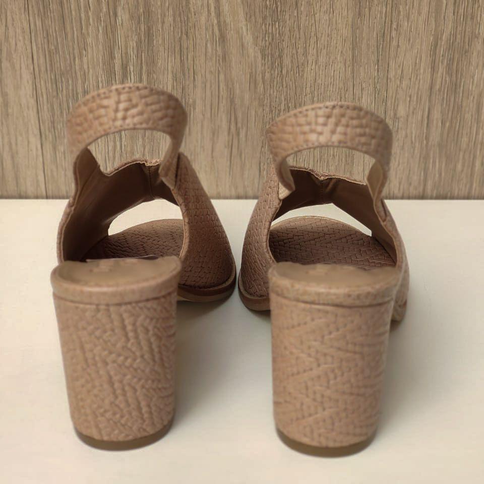 Sandália  Ankle Michele Salto Bloco Trisse Nude