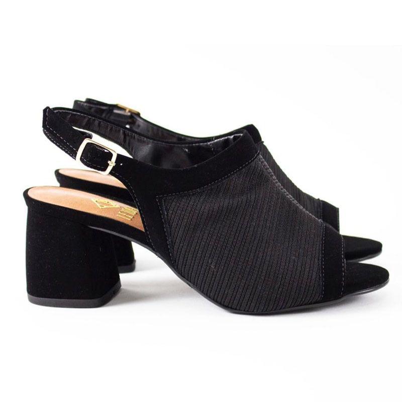 Sandália Ankle Preta Salto Bloco