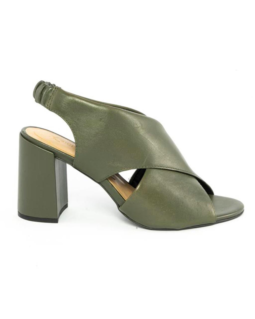 Sandália Ankle Tiras trançadas Couro Atanado Verde Musgo