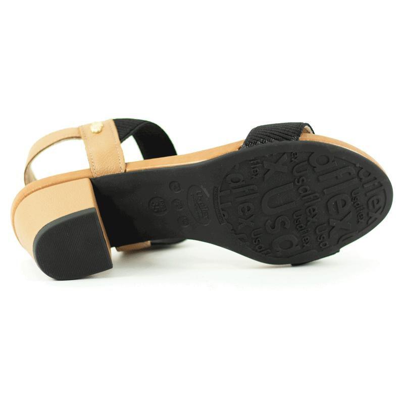 Sandalia Feminina Couro Confort Tira Elastico Usaflex Y8204