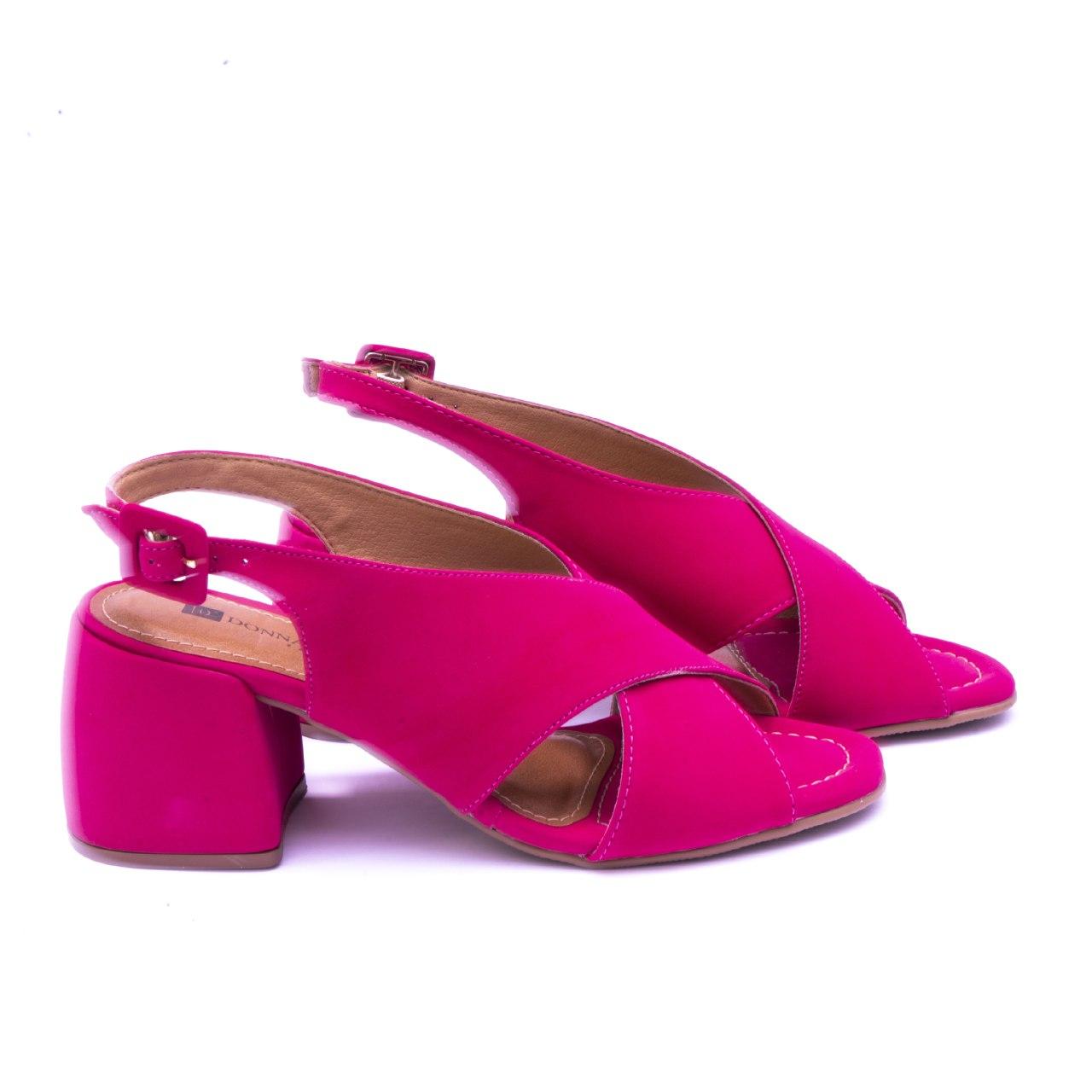 Sandália Ingrid Salto Bloco Nobuck Pink