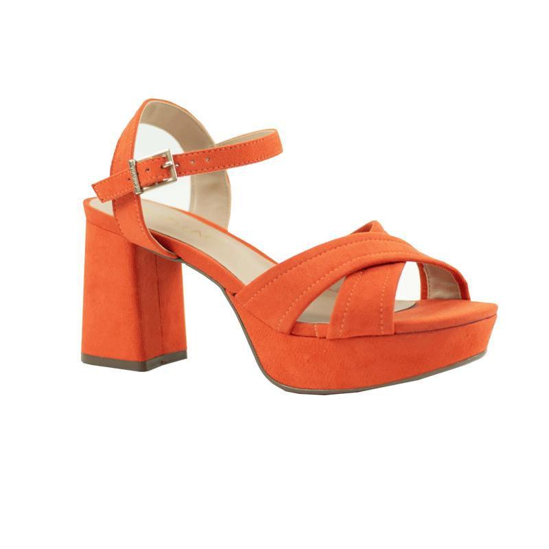 Sandália meia pata Feminina Luma Casual  Via Uno Mestiço Camurça laranja