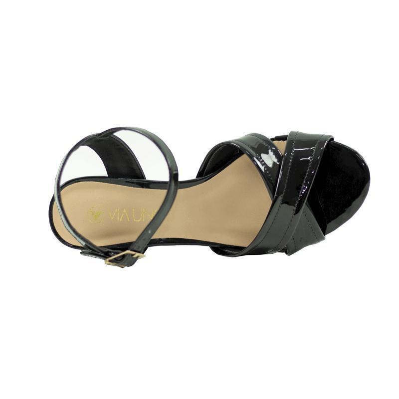 Sandália meia pata Feminina Luma Casual  Via Uno Mestiço Verniz Preto