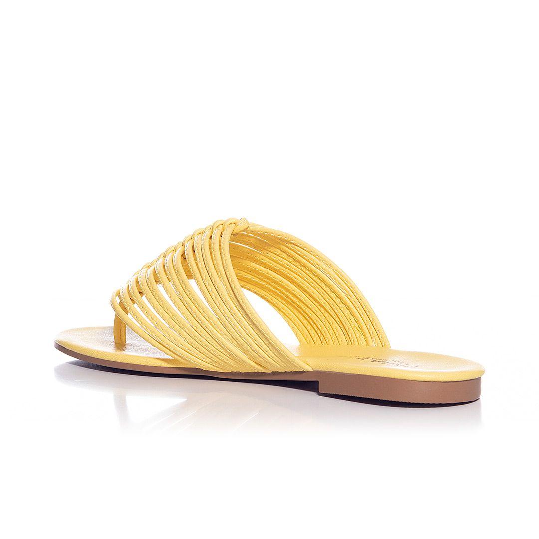 Sandália rasteira  Letícia Napa Amarelo
