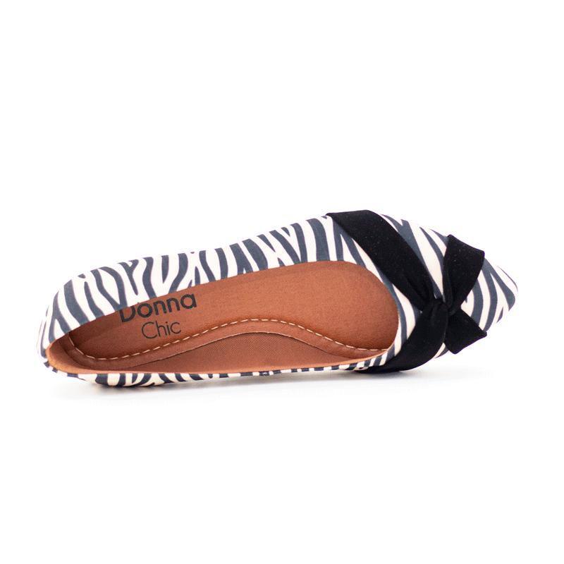 Sapatilha Bico Fino com Nó Estampa Zebra