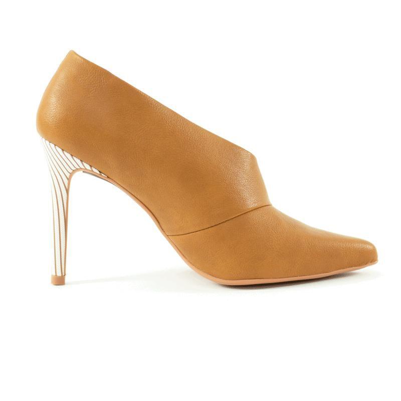 Scarpin  Ankle Salto Fino Sansa Napa Caramelo