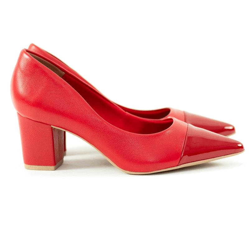 Scarpin Scarlet Salto Bloco Napa / Verniz vermelho