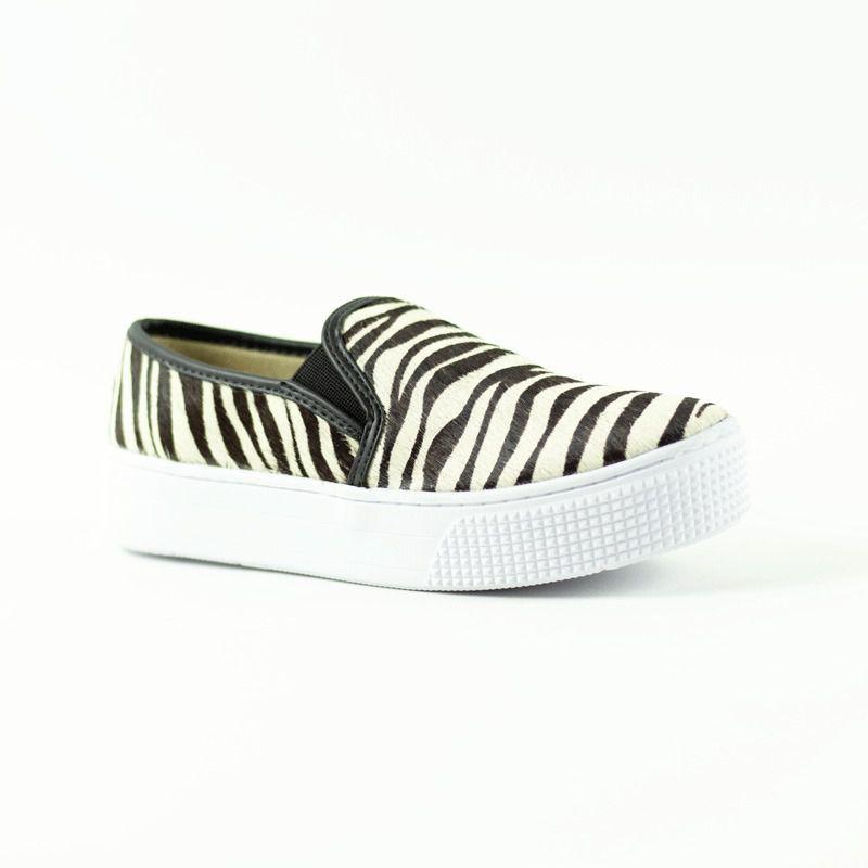 Slip On Meg Pelo Zebra Preto/Branco