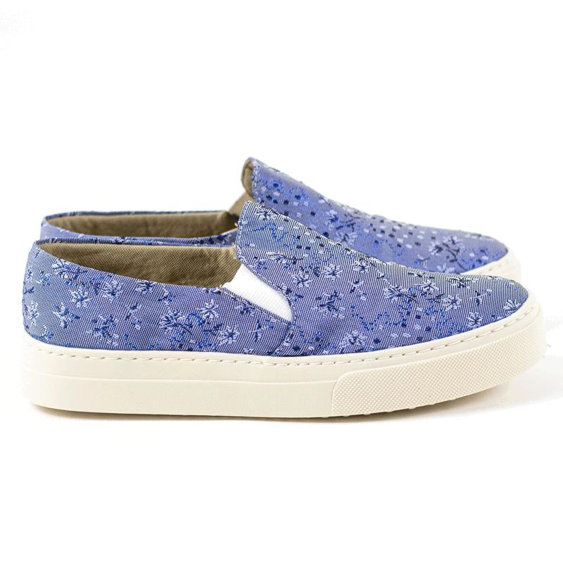 Slip ON Vania Tecido Floral Jeans
