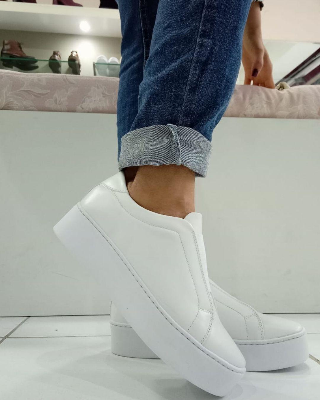Slip On  Flatform com elástico Branco