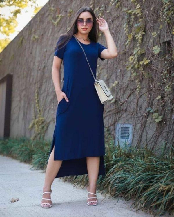 Vestido Bella Comfy Fenda Lateral Marinho