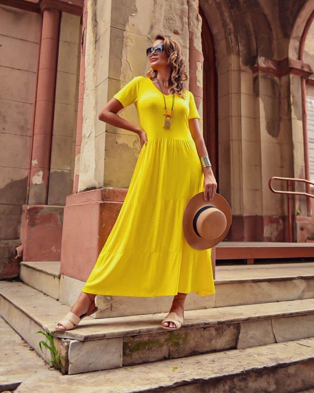 Vestido Comf Norah Amarelo