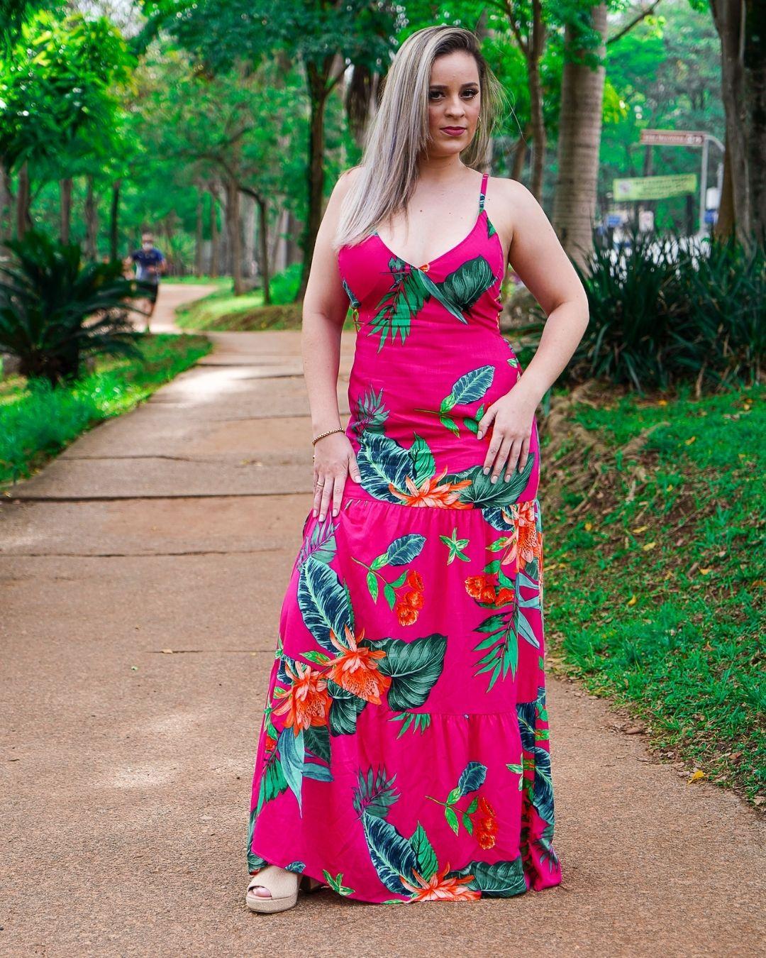 Vestido Longo Gle  Floral Pink