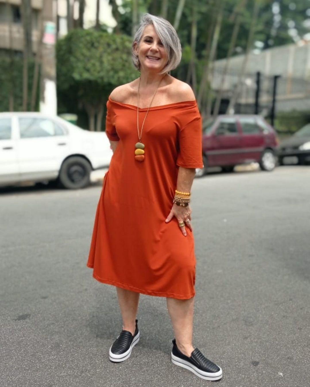 Vestido Midi Malha Vania Telha
