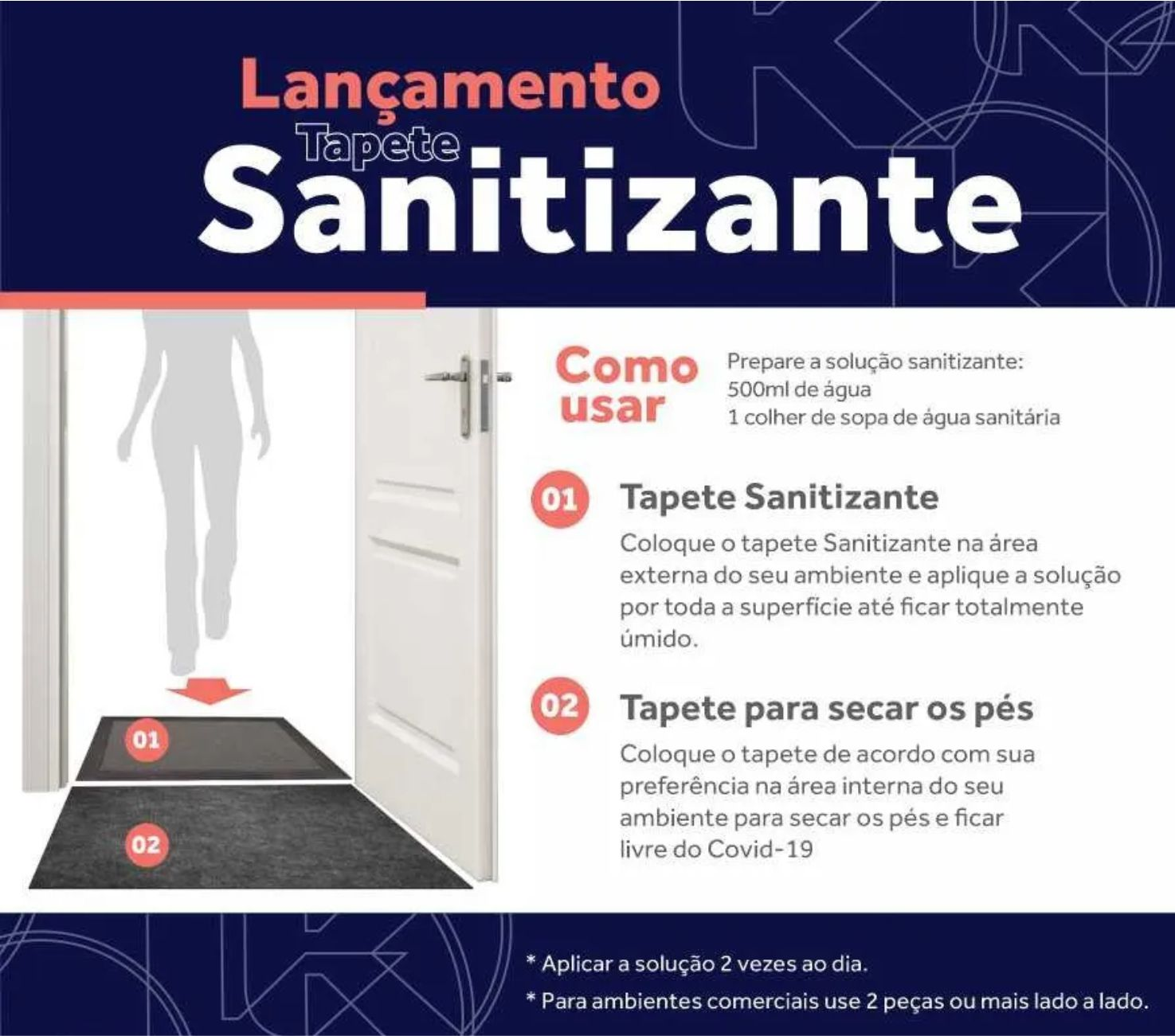 Tapete Sanitizante kit ( 1 Tapete Sanitizante + 1 Tapete Home agulhado )