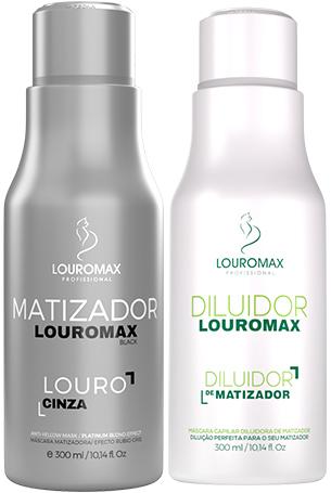 Kit Matizador Louromax Black - Efeito Louro Acinzentado - 300ml e Diluidor de Matizador 300ml