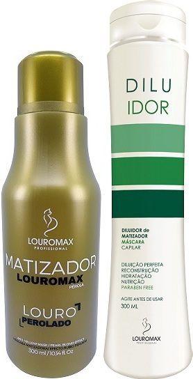 Kit Matizador Louromax Pérola - Efeito Louro Perolado - 300ml e Diluidor de Matizador 300ml