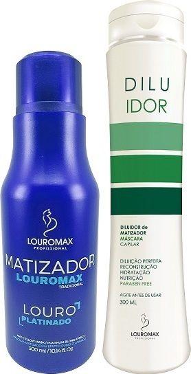 Kit Matizador Louromax Tradicional - Efeito Louro Platinado - 300ml e Diluidor de Matizador 300ml