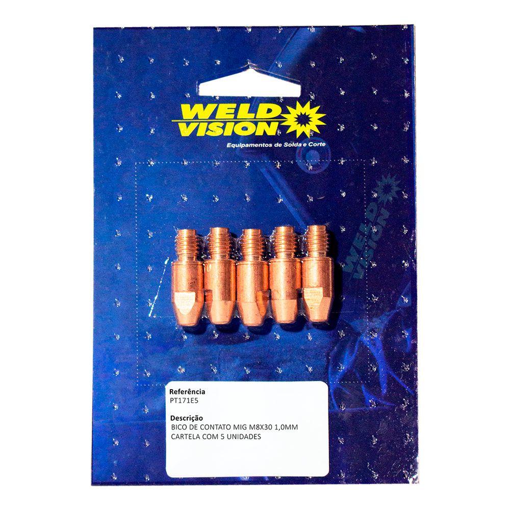 Bico de contato M8 x 30 para tochas Mig - cartela com 5 unidades