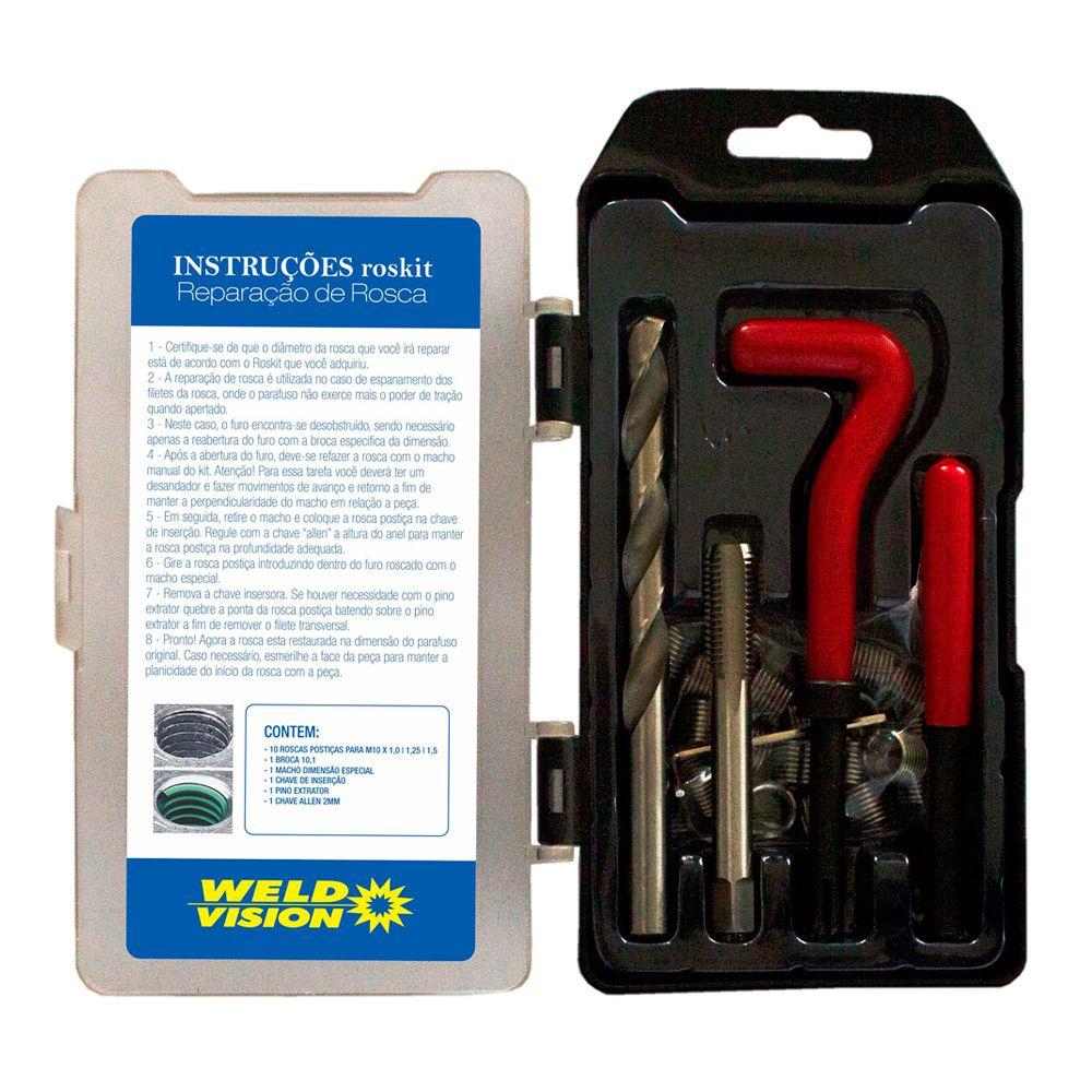 Kit de Reparo para Rosca Postiça  M10 X 1,0 - 1,25 - 1,50