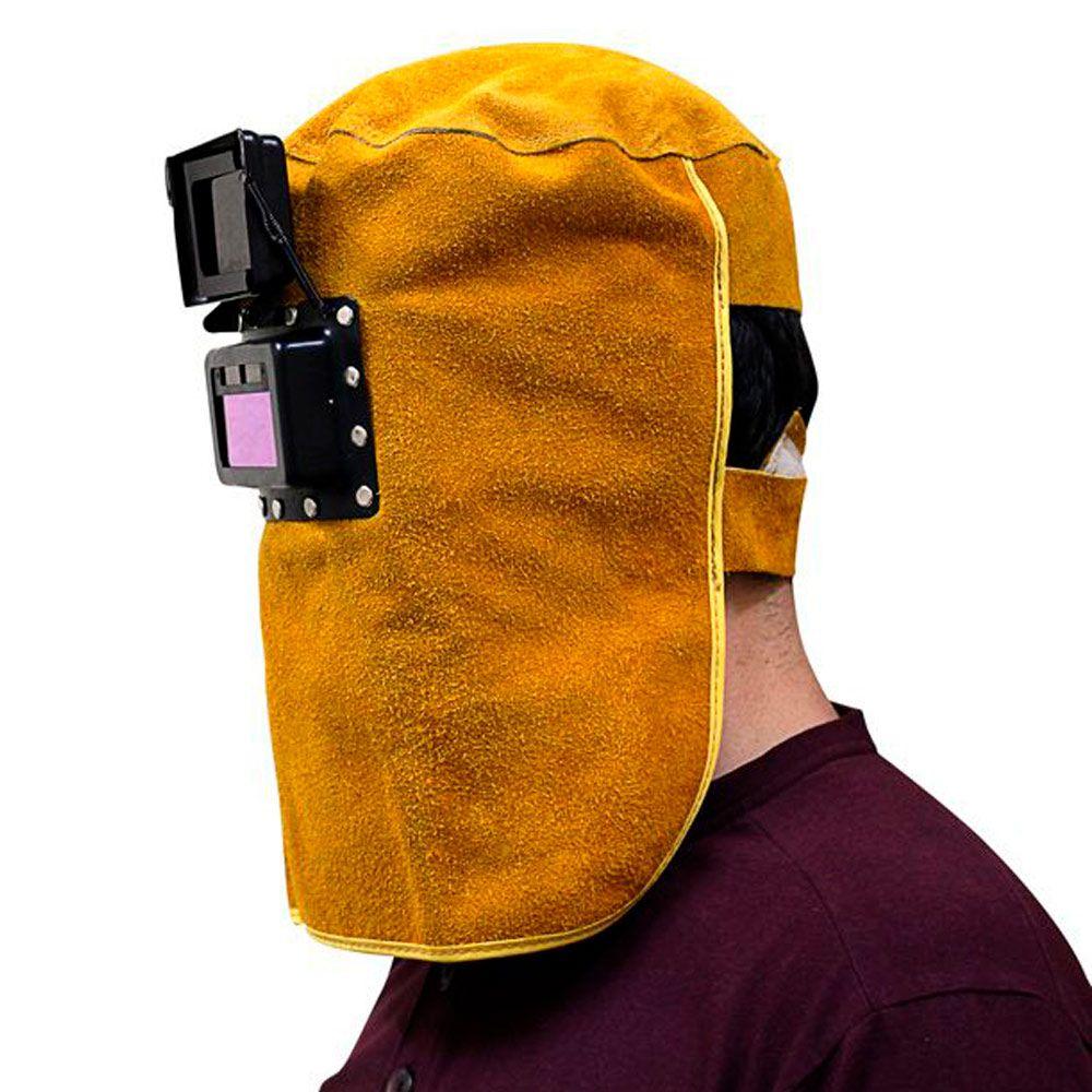 Máscara de solda MIG TIG Eletrodo Automática de Couro com Visor Retrátil