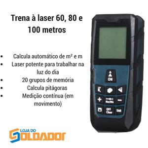 Trena à laser 60, 80 e 100 metros