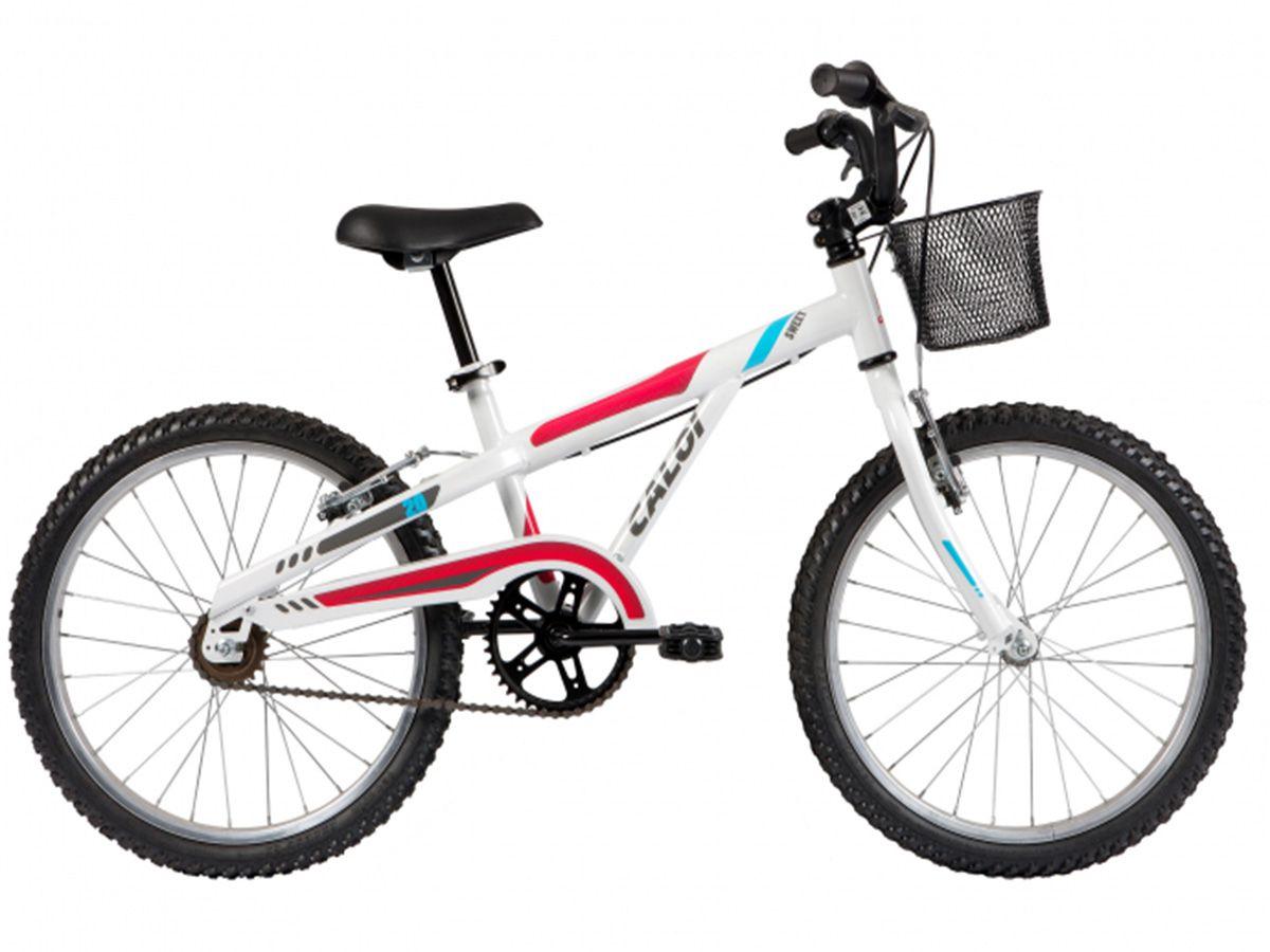 "Bicicleta Caloi - Sweet Aro 20"" - Branca / Rosa e Turquesa"