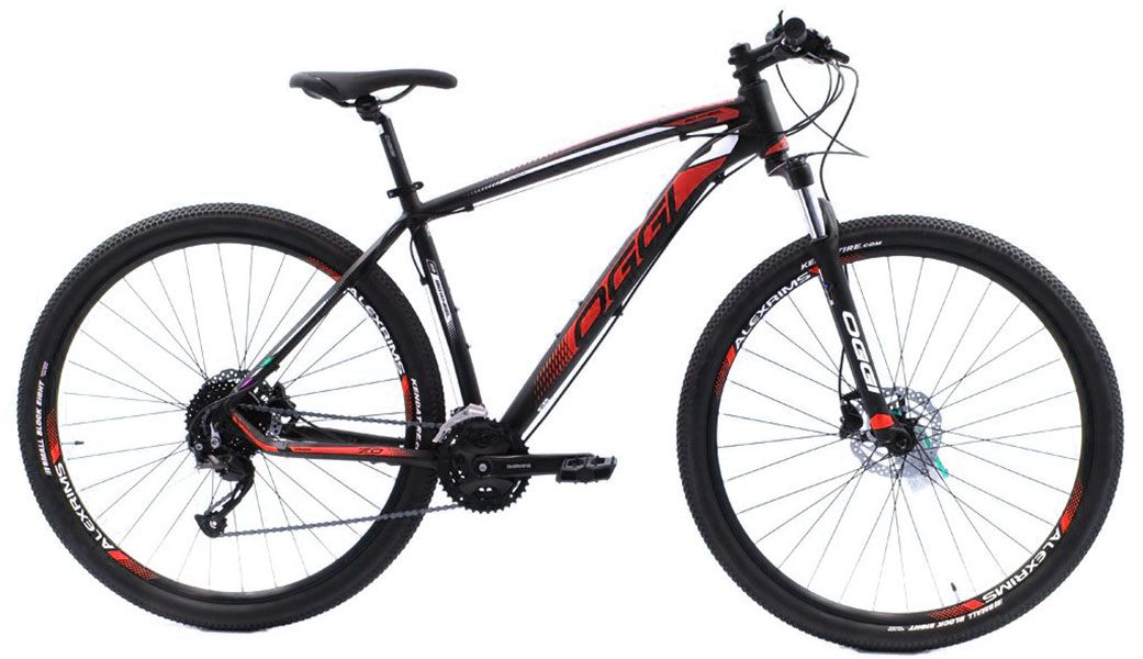 Bicicleta Oggi - Big Wheel 7.0 - 2019 -  Preta / Vermelha + Brinde