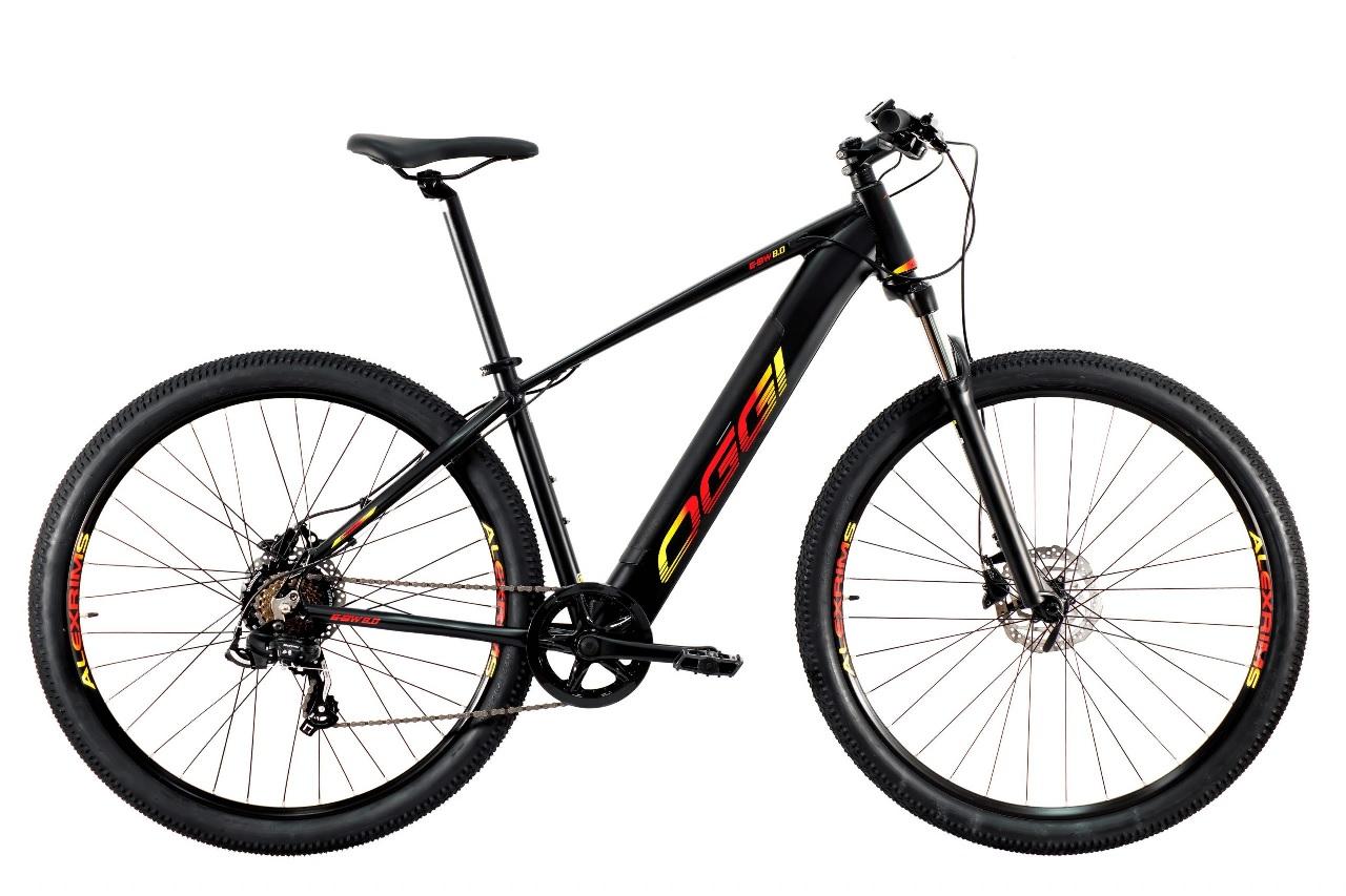 Bicicleta Oggi - E-Bike Big Wheel 8.0 - Preta / Vermelha / Amarela - 2021