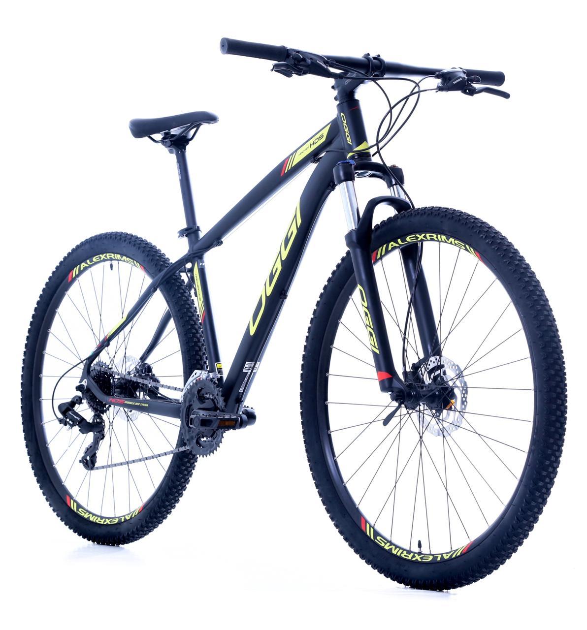 Bicicleta Oggi - Hacker HDS 24v - Preto / Amarelo / Vermelho + Brinde