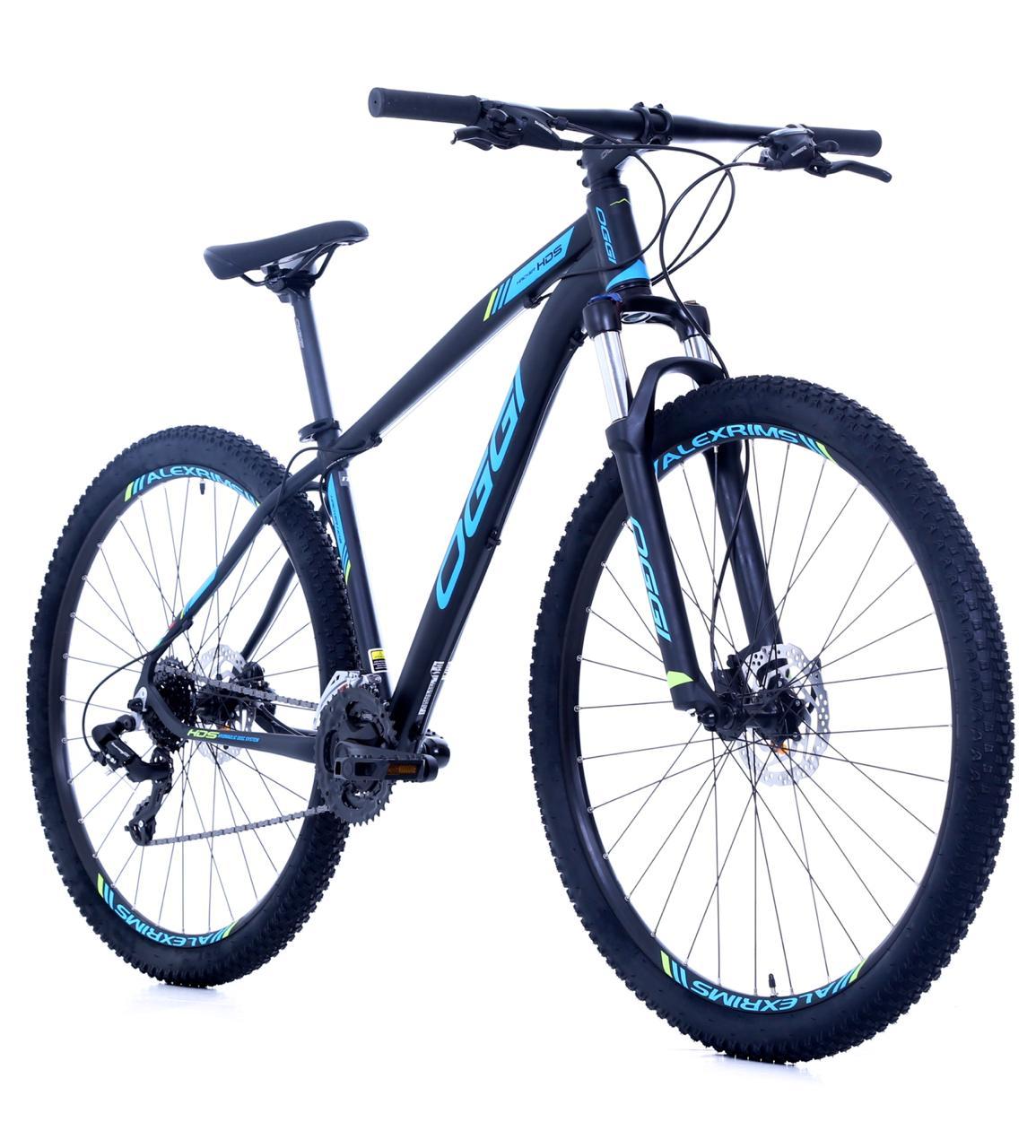 Bicicleta Oggi - Hacker HDS 24v - Preto / Azul / Verde Neon + Brinde