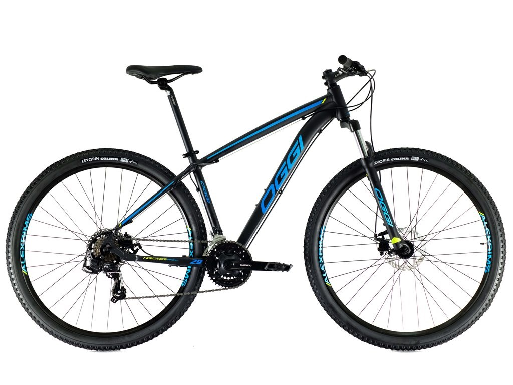 Bicicleta Oggi - Hacker Sport 29 - Preta / Azul / S-Lime - 2021