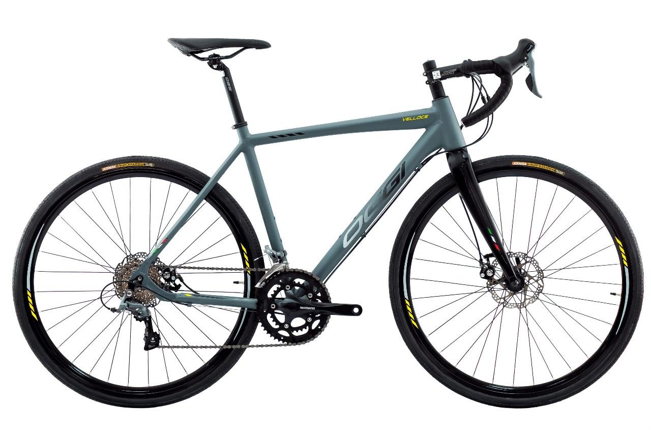 Bicicleta Oggi - Velloce Disc 700c - Grafite / Preto / Amarelo - 2022