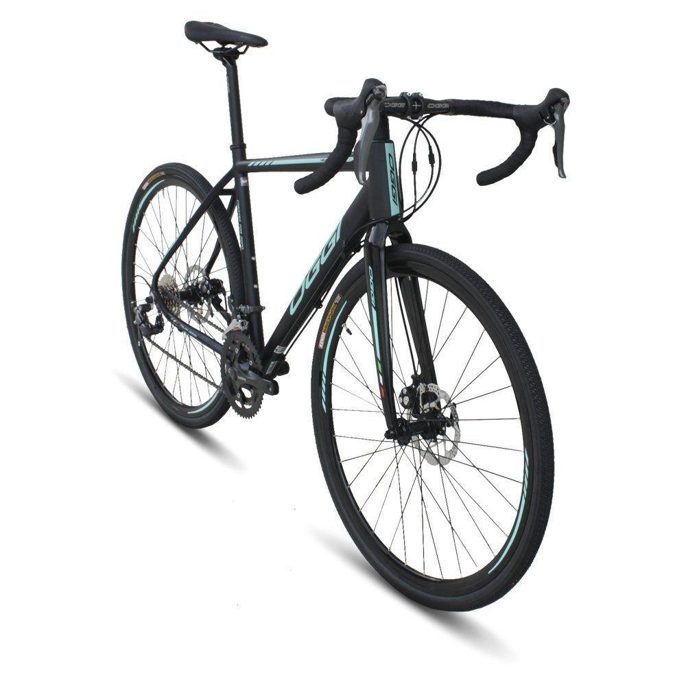 Bicicleta Oggi - Velloce Disc 700c - Preta / Verde + Brinde