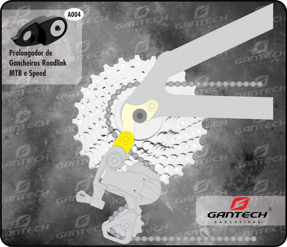 Prolongado de Gancheira Gantech - PRETO - A004 - Prolongador de gancheiras RoadLink MTB e Speed