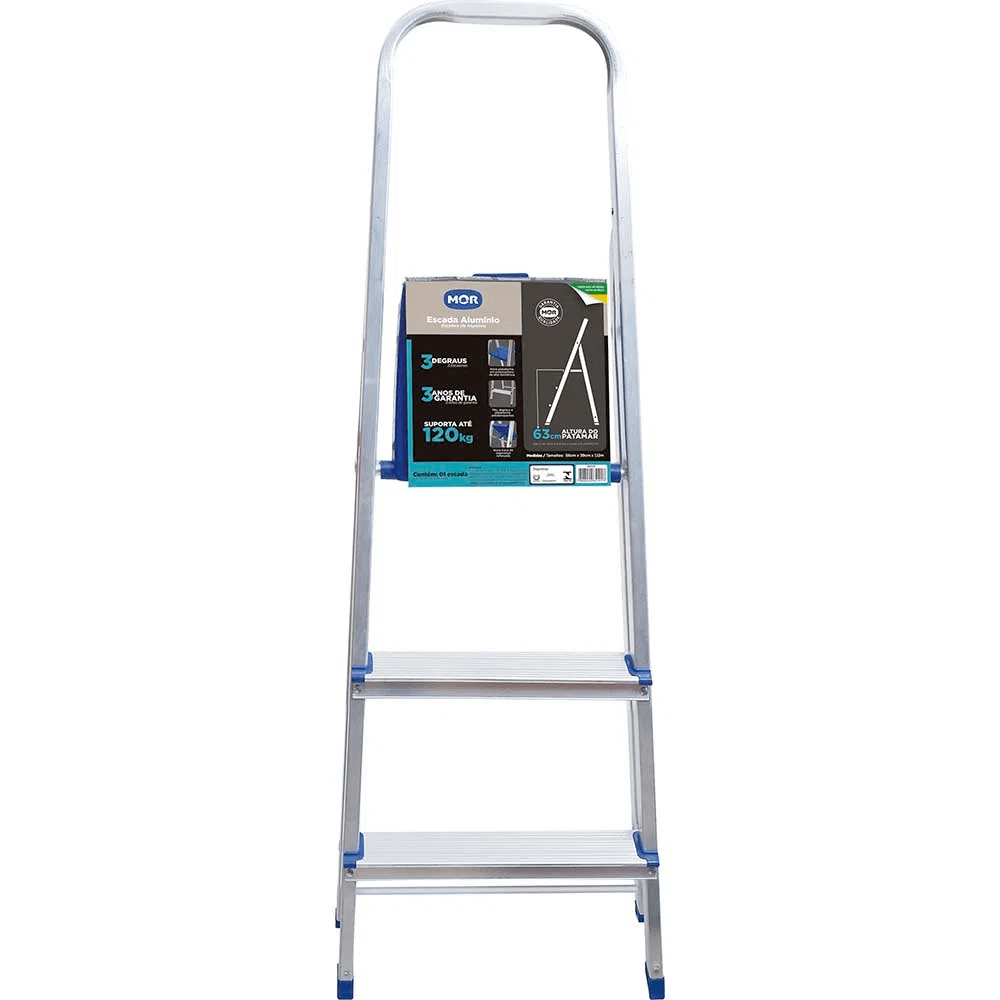 Escada alumínio 3 degraus Mor