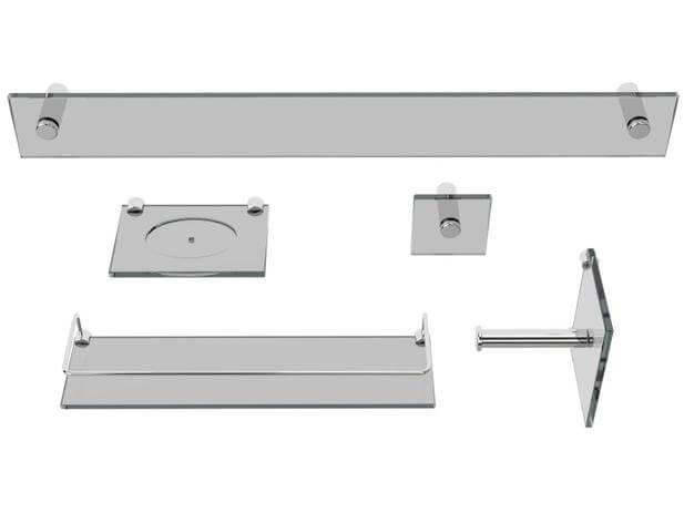 Kit de acessórios para banheiro de vidro Vitru Colorati Fumê