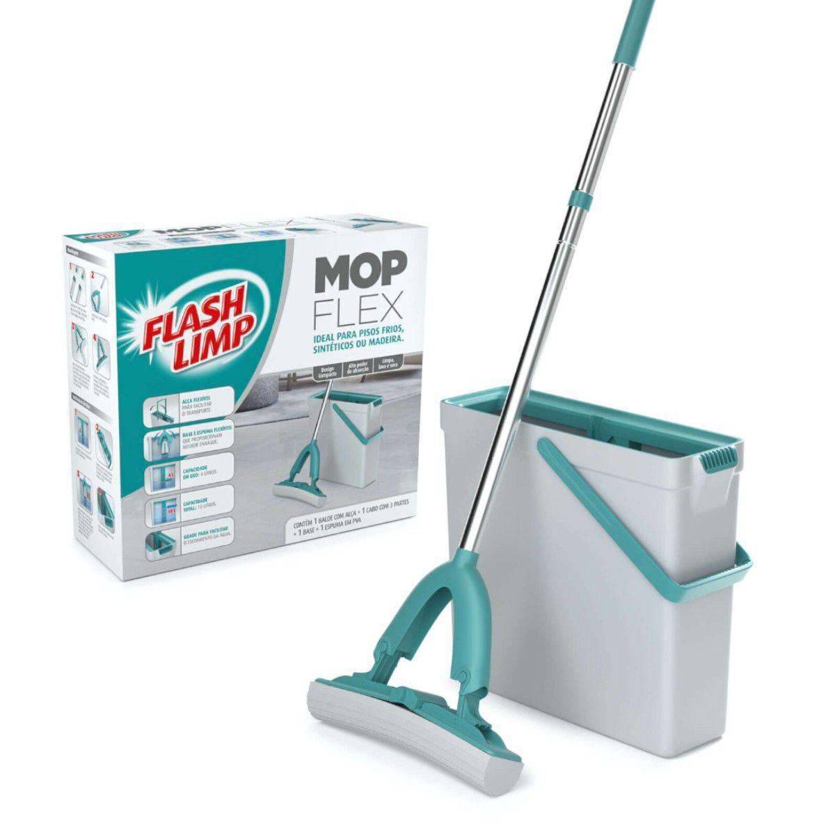 Mop Flex FlashLimp com Balde Espremedor 10L