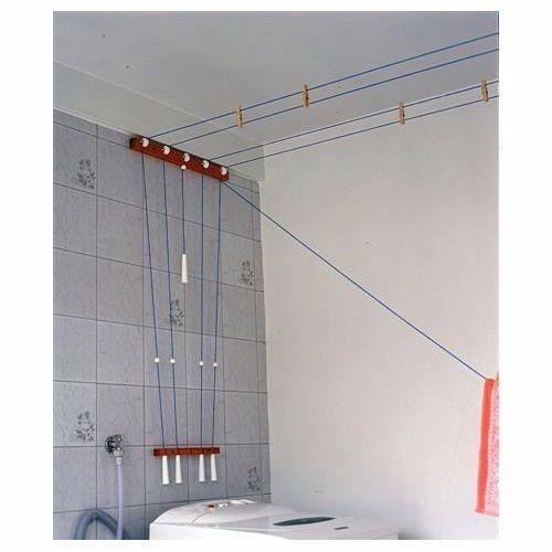 Varal de parede Madeira Branco 25m Original SecaMais