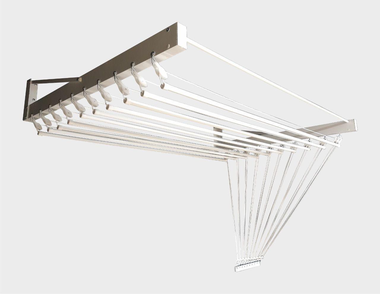 Varal de parede individual 10 varetas branco em alumínio 1,20m - Multivarais
