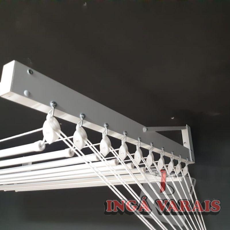 Varal de parede individual 10 varetas branco em alumínio 1,50m - Maxeb
