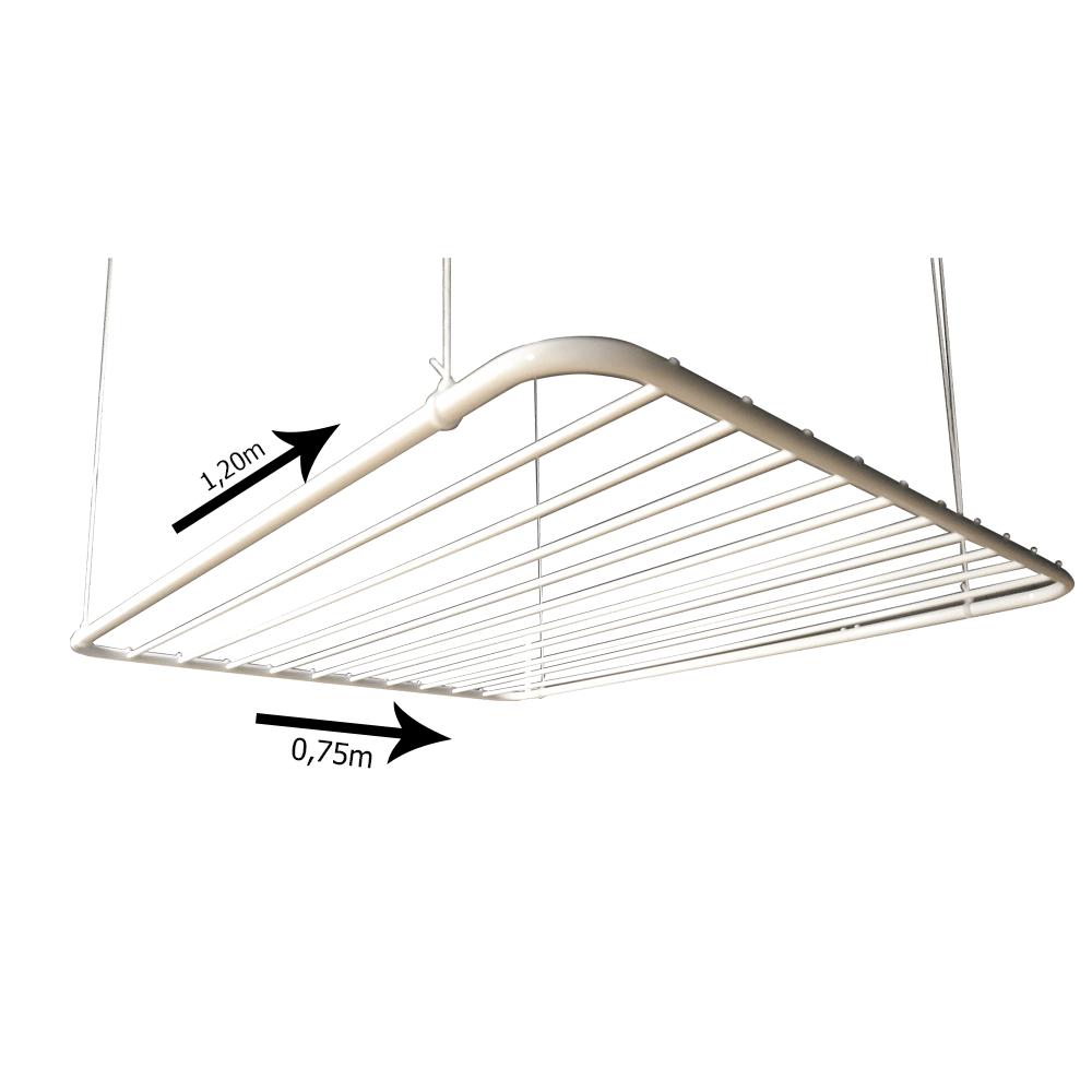 Varal de teto em alumínio branco 120x075 10 varetas - Multivarais