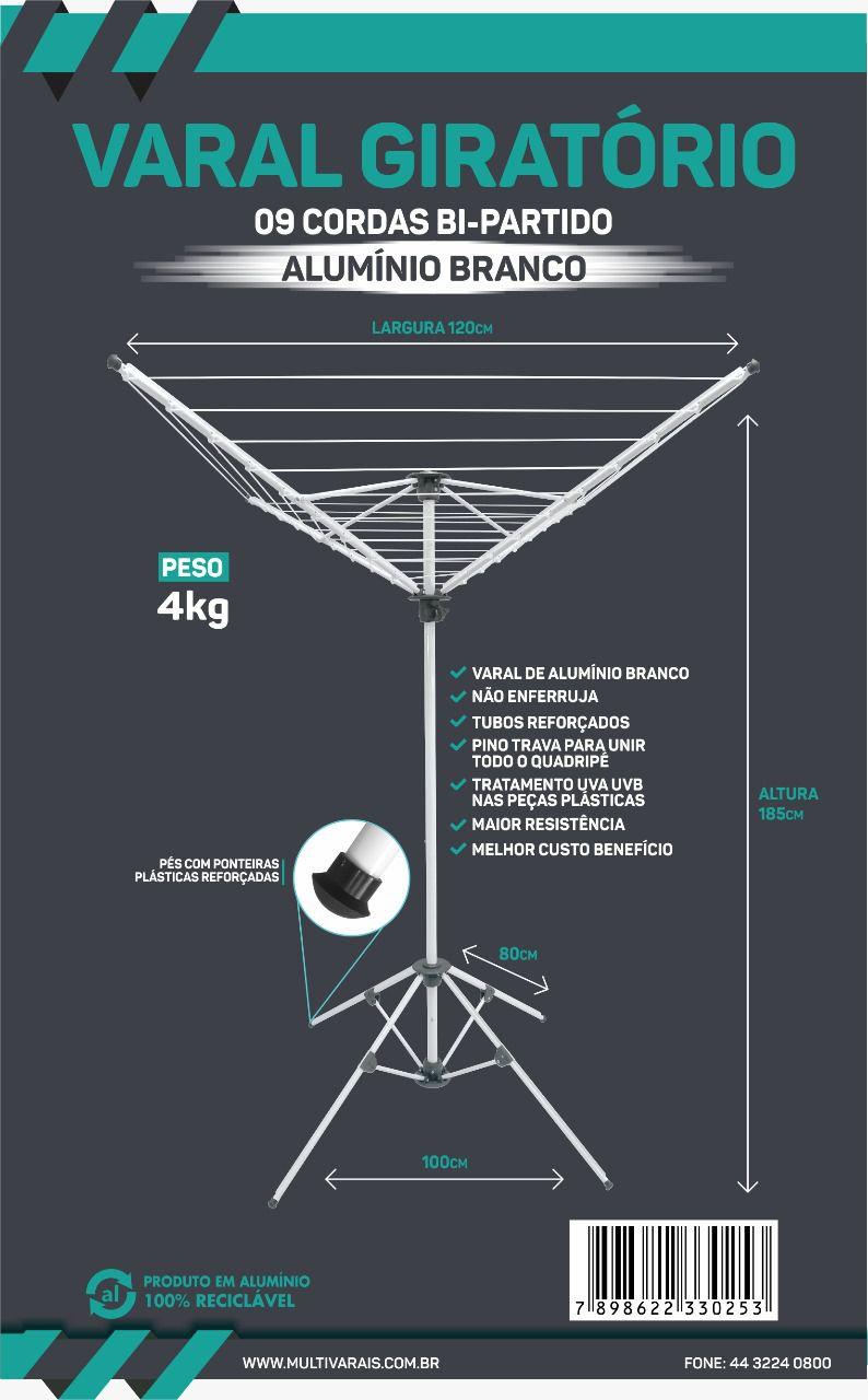 Varal Giratório Alumínio Branco bi-partido 09 cordas - Multivarais