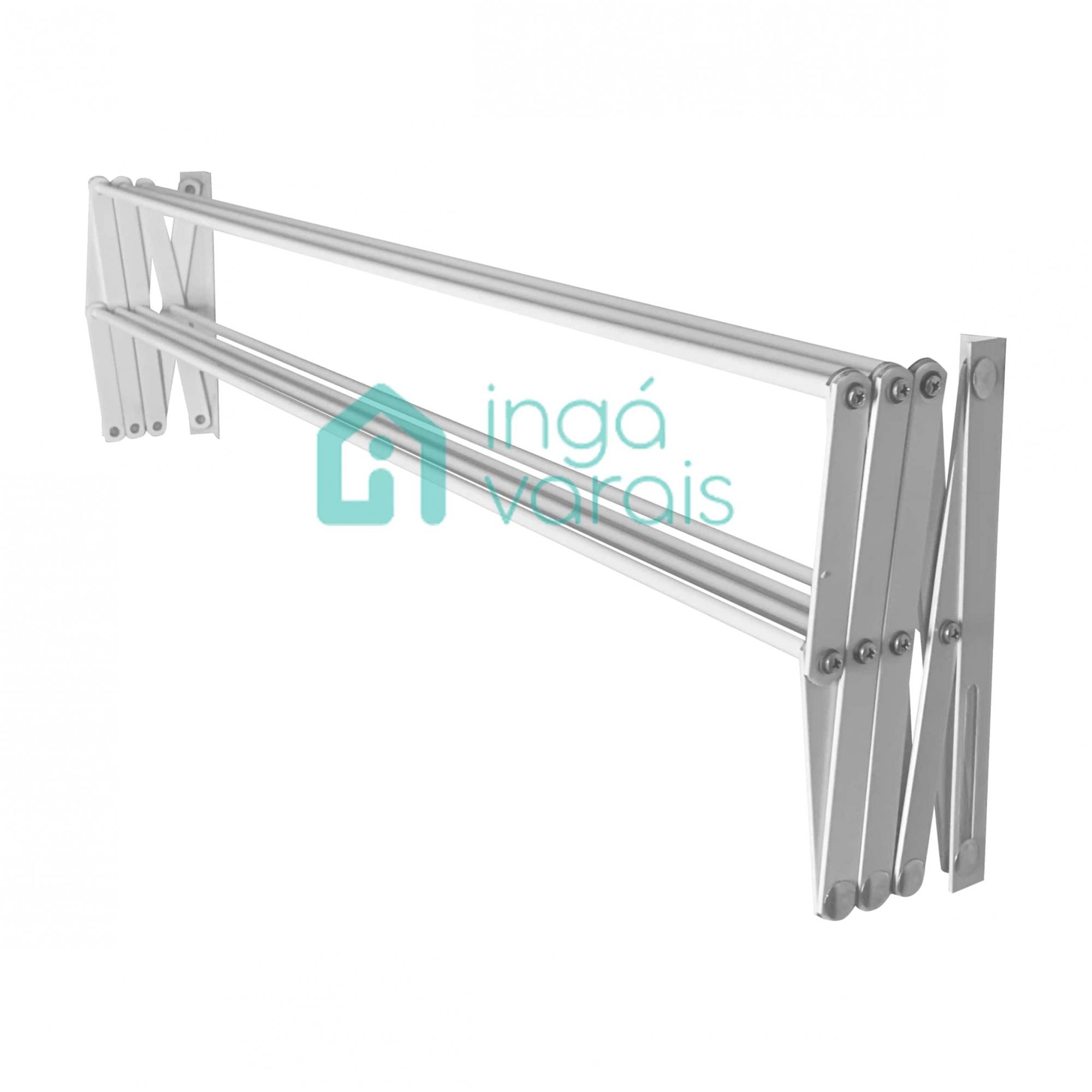 Varal Sanfonado 100cm Em Alumínio De Parede Retrátil - Branco